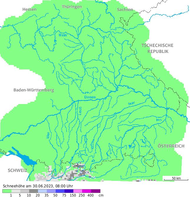 Karte Bayern.Schneesituation Bayern