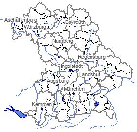Karte mit aktuellen Warnmeldungen; bei Klick Sprung zum Hochwassernachrichtendienst Bayern